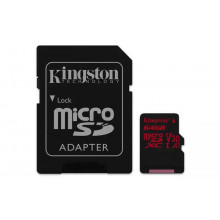 Kingston microSDXC 64GB Canvas React UHS-I U3 + adapter